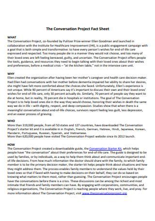 Conversation Project Fact Sheet