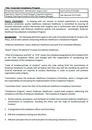 Corporate Compliance Program Policy Statement