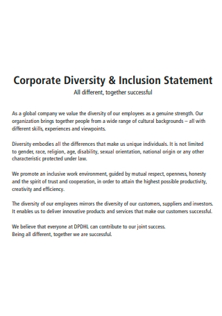 Corporate Diversity and Inclusion Statement