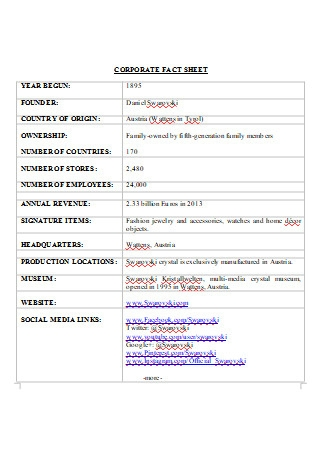 Corporate Fact Sheet in DOC
