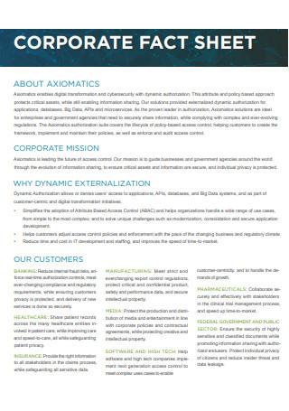 Corporate Fact Sheet in PDF