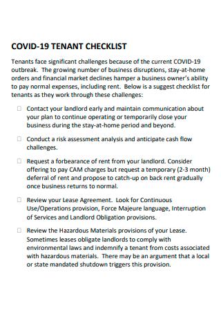 Covid 19 Tenant Checklist