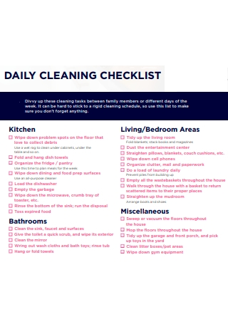 Daily Cleaning Checklist Example