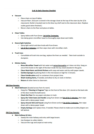 Daily Cleaning Checklist in PDF