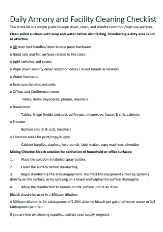Daily Facility Cleaning Checklist