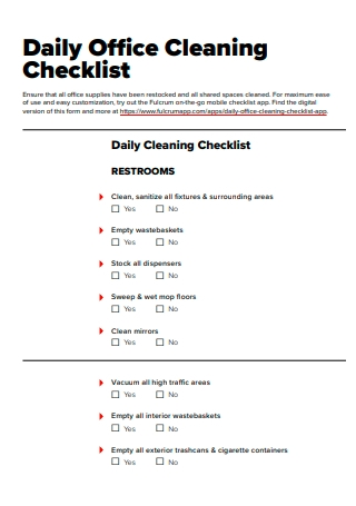 Daily Office Cleaning Checklist Template