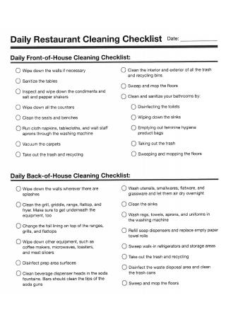 Daily Restaurant Cleaning Checklist
