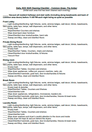 Daily Shift Cleaning Checklist