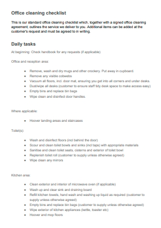 Daily Task Office Cleaning Checklist