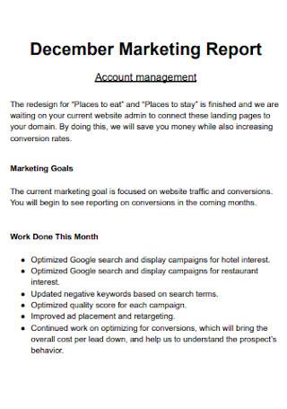 December Marketing Report
