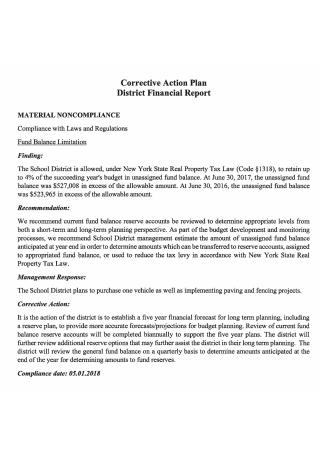 District Financial Corrective Action Plan