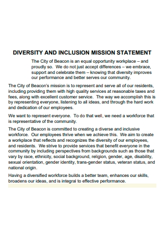 Diversity and Inclusion Mission Statement