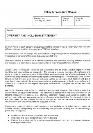 Diversity and Inclusion Statement Policy and Procedure