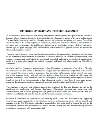 Diversity and Inclusion Statement Template