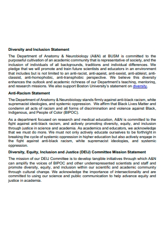 Diversity and Inclusion Statement in PDF
