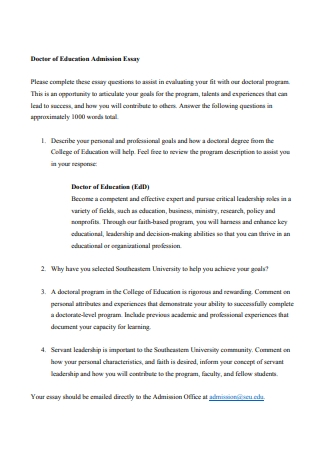 Doctor of Education Admission Essay