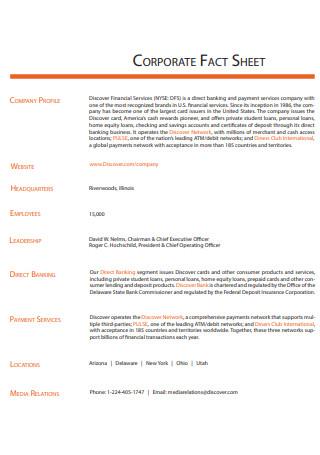 Draft Corporate Fact Sheet