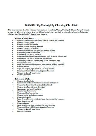 Draft Daily Cleaning Checklist