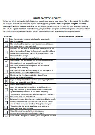 Draft Home Safety Checklist