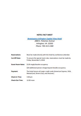 Draft Hotel Fact Sheet