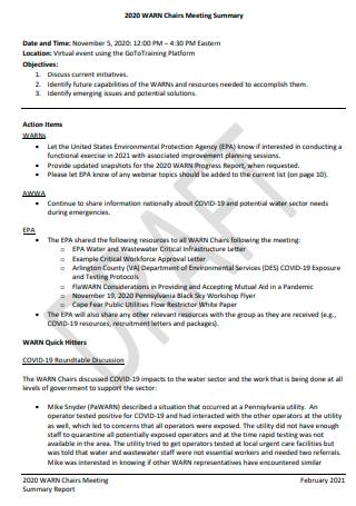 Draft Meeting Summary Report