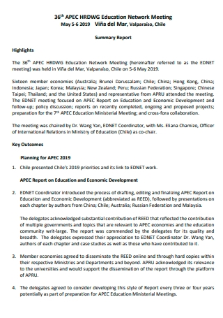 Education Network Meeting Summary Report