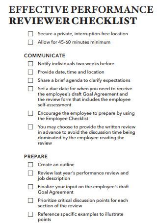 Effective Performance Reviewer Checklist