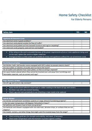 Elderly Persons Home Safety Checklist