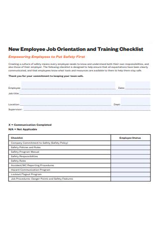 Employee Job Orientation and Training Checklist