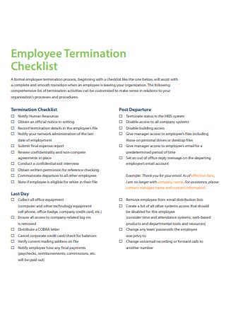 Employee Termination Checklist Example