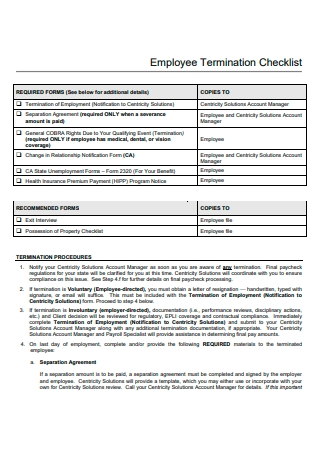Employee Termination Checklist Template