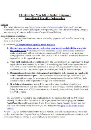 Employee payroll checklist
