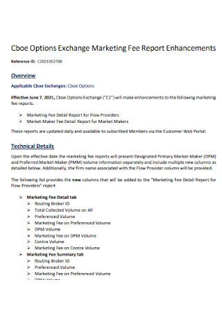 Exchange Marketing Fee Report