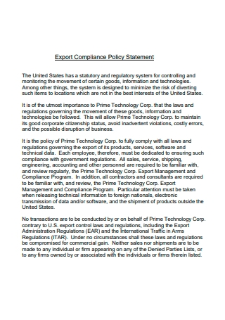 Export Compliance Policy Statement