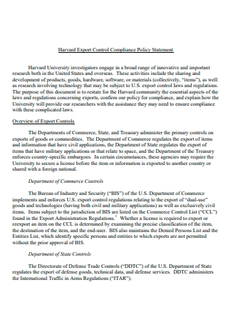 Export Control Compliance Policy Statement