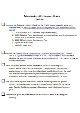 Extension Agent Performance Checklist