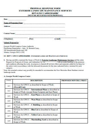 Exterior Landscape Maintenance Services Proposal Form