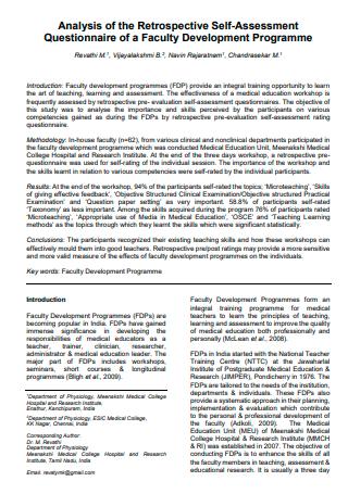 Faculty Development Programme Self Assessment