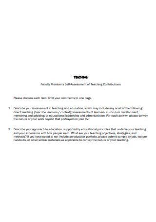 Faculty Member Self Assessment