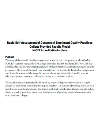 Faculty Model Self Assessment