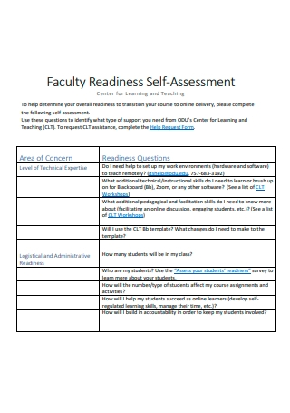 Faculty Self Assessment Example