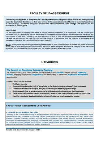 Faculty Self Assessment Template