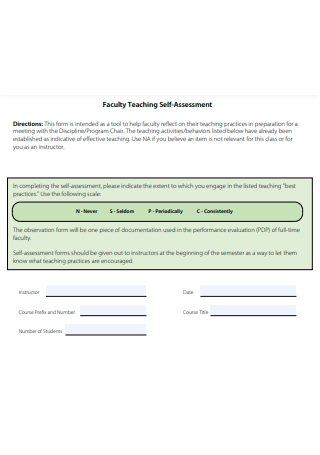 Faculty Teaching Self Assessment