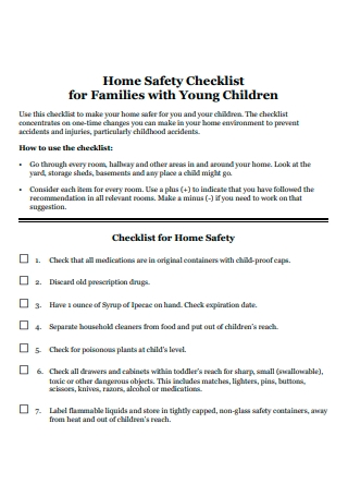 Families with Young Children Home Safety Checklist