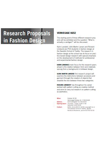 Fashion Design Research Proposal