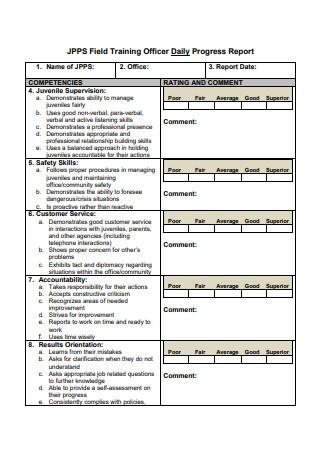 Field Training Officer Daily Progress Report