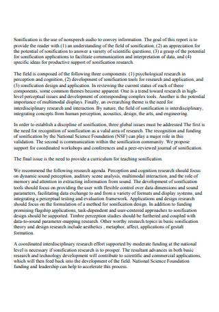 Field and Research Agenda Status Report