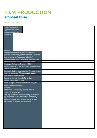 Film Production Proposal Form