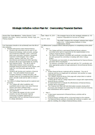 Financial Barriers Strategic Initiative Action Plan