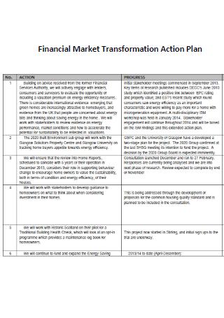 Financial Market Transformation Action Plan Template